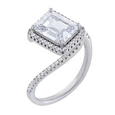 Absolute™ Sterling Silver Cubic Zirconia Emerald-Cut Bypass Optic Ring