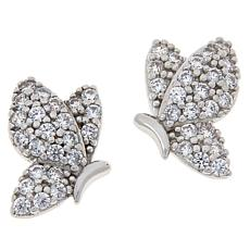 Absolute™ Sterling Silver Cubic Zirconia Pavé Butterfly Stud Earrings