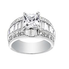 Absolute™ Sterling Silver Cubic Zirconia Princess and Baguette Ring