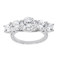 Absolute™ Sterling Silver Cubic Zirconia Round 5-Stone Ring