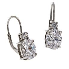 Absolute™ Sterling Silver Cubic Zirconia Round and Oval Drop Earrings