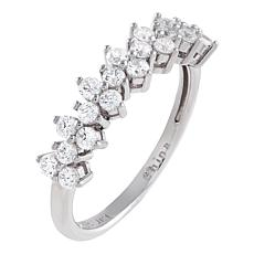 Absolute™ Sterling Silver Cubic Zirconia Round-Cut Cluster Band Ring