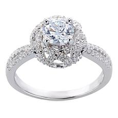 Absolute™ Sterling Silver Cubic Zirconia Round Floral Ring