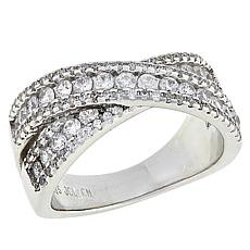 Absolute™ Sterling Silver Cubic Zirconia Round Pavé Crossover Ring