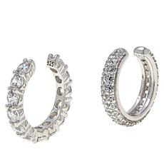 Absolute™ Sterling Silver Cubic Zirconia Set of 2 Pavé Ear Cuffs