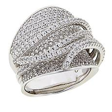 Absolute™  Sterling Silver Cubic Zirconia Wide Crossover Pavé Ring