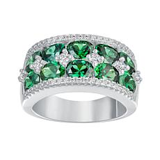 Absolute™ Sterling Silver CZ Oval Double-Row Wedding Band Ring