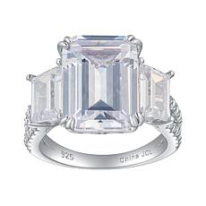 Absolute™ Sterling Silver Emerald-Cut and Baguette 3-Stone Ring