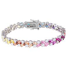 Absolute™ Sterling Silver Ombre Rainbow Cubic Zirconia Tennis Bracelet