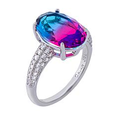 Absolute™ Sterling Silver Oval Bi-Color Solitaire Cocktail Ring