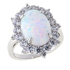 Absolute™ Synthetic Opal and CZ Sterling Silver Frame Ring