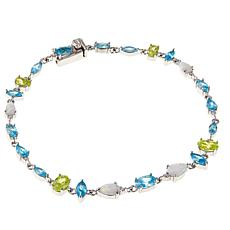 Absolute™ Synthetic Opal and Multicolor CZ Sterling Silver Bracelet