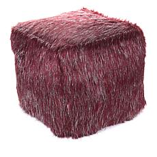 Adrienne Landau Metallic Acrylic Decorative Faux Fur Pouf