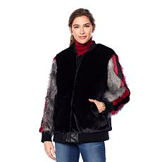 Adrienne Landau Striped Sleeve Faux Fur Bomber Jacket