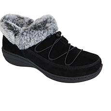 Aetrex® Chrissy Waterproof Suede Slip-On Shoe with Faux Fur Trim