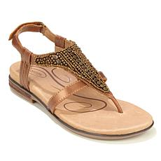 Aetrex® Sheila Beaded Leather Thong Sandal