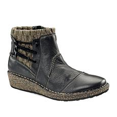 Aetrex® Tessa Leather Sweater Bootie With Cork Wedge