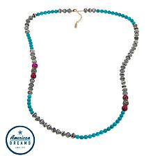 "Akola ""Glimpse of the Mara"" Agate and Karatasi Bead Long 36"" Necklace"