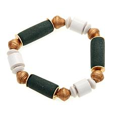 "Akola ""Lush"" Recycled Glass and Karatasi Paper Bead Stretch Bracelet"