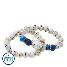 "Akola ""Sparkly Blue Lamu"" Agate and Karatasi Bead 2pc Bracelet Set"