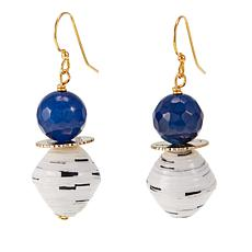"Akola ""Sparkly Blue Lamu"" Agate and Karatasi Bead Drop Earrings"