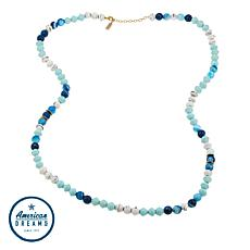 "Akola ""Sparkly Blue Lamu"" Agate and Karatasi Bead Long 36"" Necklace"