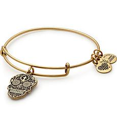 "Alex and Ani ""Calavera"" Charm Expandable Bangle-Silvertone"