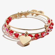 Alex and Ani Heart and Beaded Expandable Bangle Bracelets Set of 2