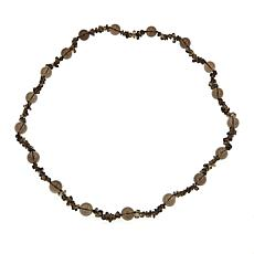 "Amara Jewelry Collection Brown Quartz Chip and Bead 36"" Necklace"