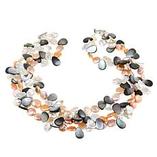 Amara Jewelry Collection Multi Cultured Pearl 3-Row Cluster Necklace