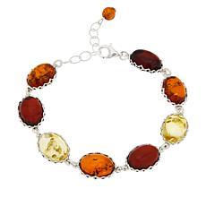 Amber Extraordinaire Sterling Silver Oval Station Bracelet