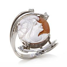 AMEDEO 14mm Sardonyx Cameo and CZ Bypass Ring
