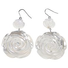 AMEDEO Mother-of-Pearl Carved Rose Drop Earrings