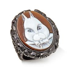 "AMEDEO ""White Rabbit"" 25mm Cameo Bold Ring"