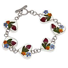 Amena K® Silver Designs Sterling Silver Dried Flower Heart Bracelet