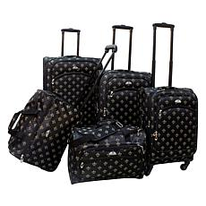 American Flyer Fleur de lis 5-Piece Spinner Luggage Set