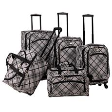 American Flyer Silver Stripes 5-Piece Spinner Luggage S