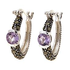 Amethyst and Gray Marcasite  Hoops - February