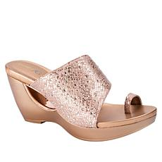 Andrew Geller Aralyn Jeweled Toe Loop Wedge Sandal