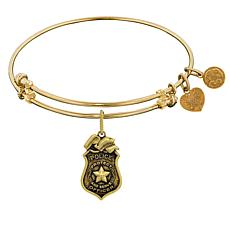 Angelica Police Badge Dangle Wire Expansion Bangle Bracelet