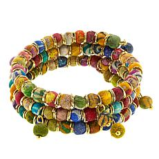 Anju Recycled Sari Fabric Bead Wrap Bracelet