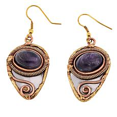 Anju Simulated Amethyst  Pear Drop Earrings