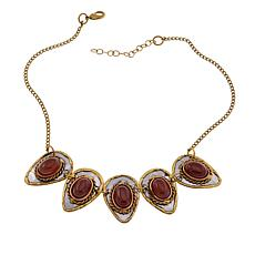 "Anju Simulated Red Agate Pear 15"" Bib Necklace"