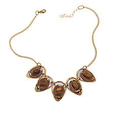 "Anju Simulated Tiger's Eye Pear Station 17"" Bib Necklace"
