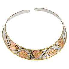 Anju Tri-Tone Leaf Design Collar Necklace