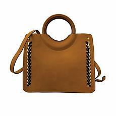 Anna Cai Faux Leather Wood Handle Purse