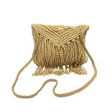 Anna Cai Macramé Crossbody Bag with Fringe