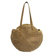 Anna Cai Round Wheat Straw Purse