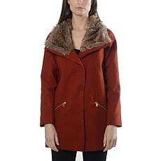 Anna Cai Wool Coat with Removable Faux Fur Collar