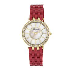 Anne Klein Crystal-Accented Red Bracelet Watch